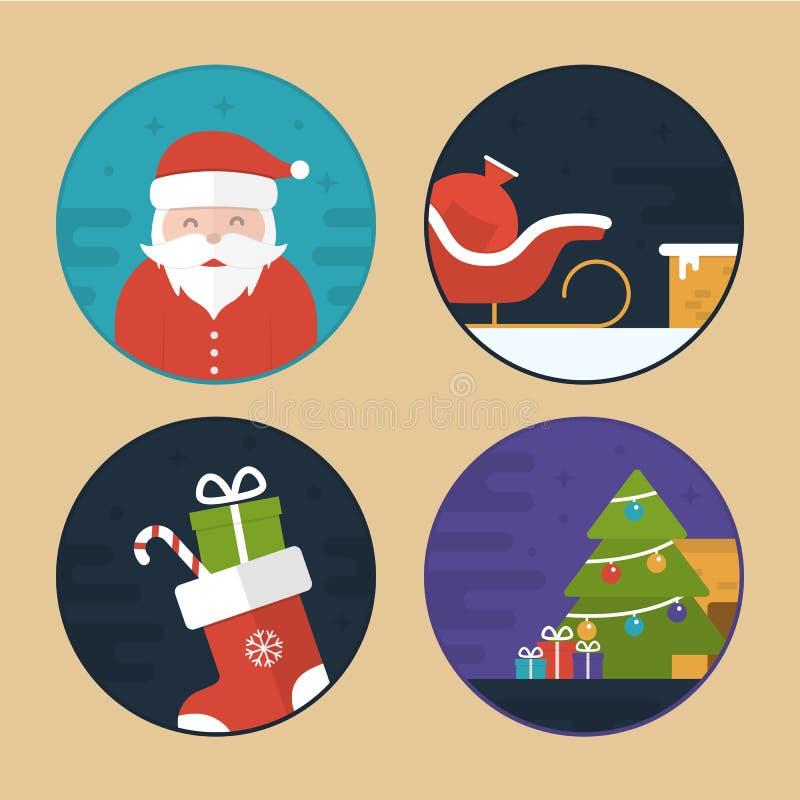 De vlakke Vectorillustraties van de Kerstmisscène vector illustratie