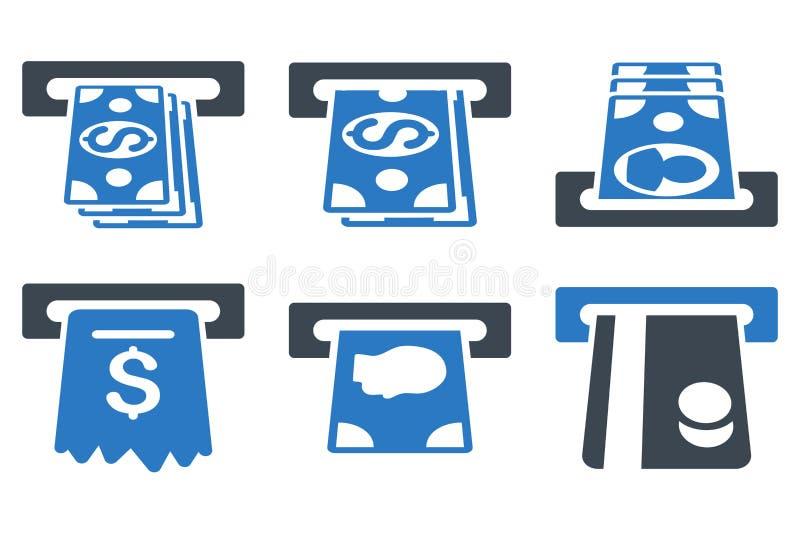 De Vlakke Vectorpictogrammen van ATM Cashpoint vector illustratie