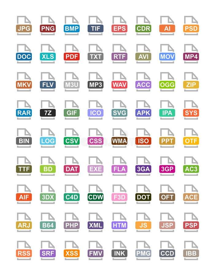 De vlakke vectorpictogrammen van de dossieruitbreiding Archief, vector, audio, beeld, systeem, documentformaten royalty-vrije illustratie