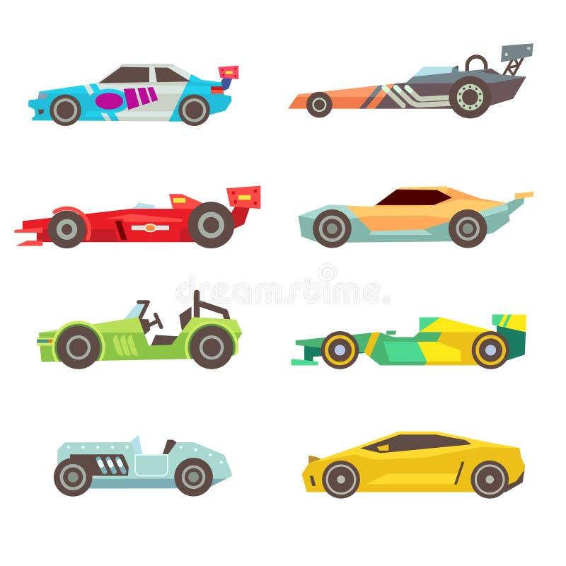 De vlakke vectorpictogrammen van de sportraceauto die op wit worden geïsoleerd royalty-vrije illustratie