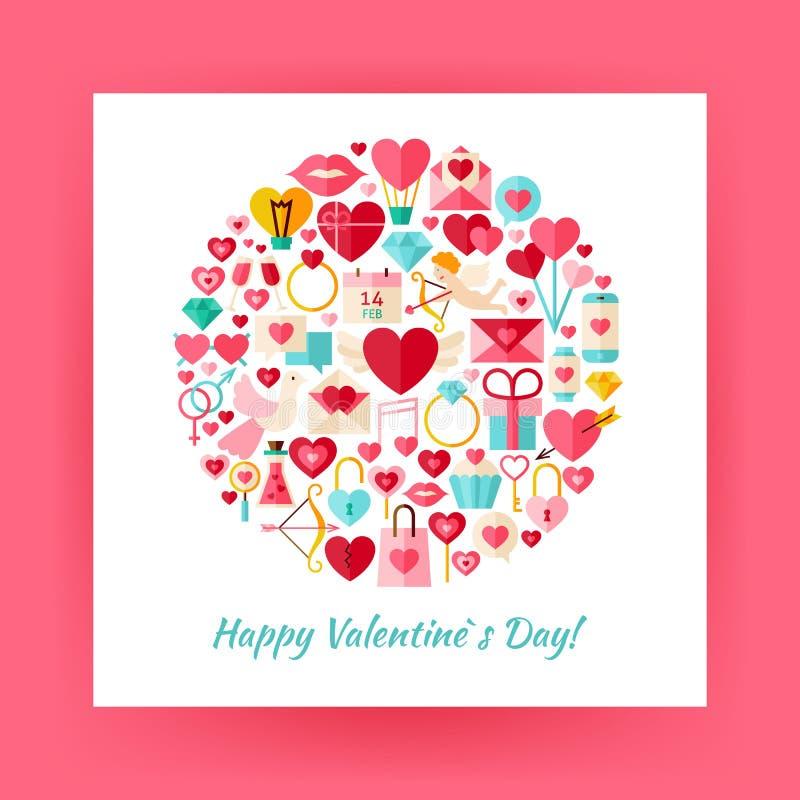 De vlakke Vectorreeks van de Stijlcirkel van Gelukkig Valentine Day stock illustratie