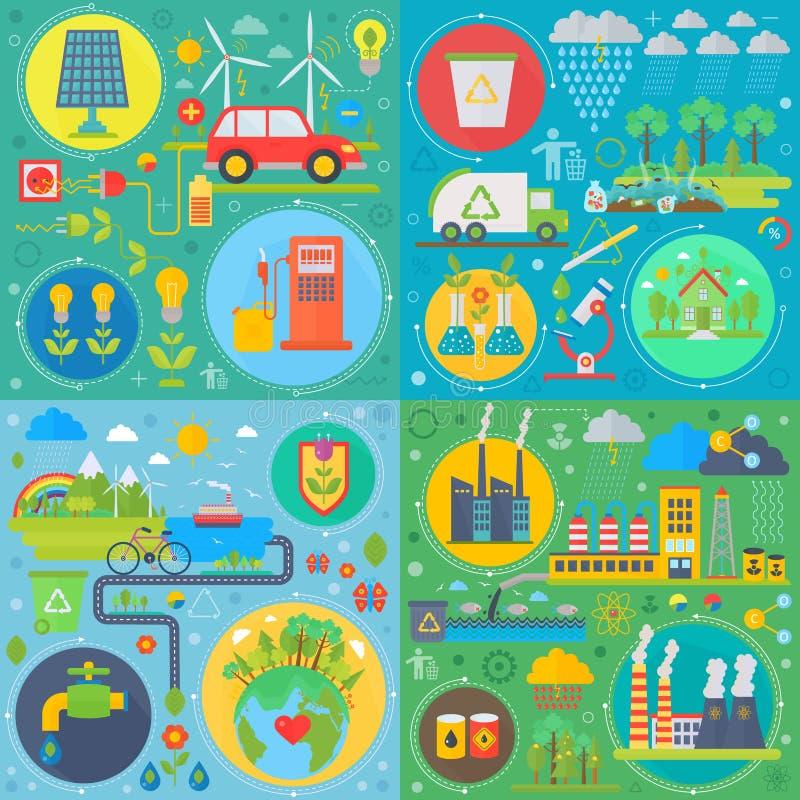 De in vlakke vectorreeks van de ontwerpecologie Webpictogrammen Ecologische vriendschappelijke, lage emissieloos Moderne groene e vector illustratie