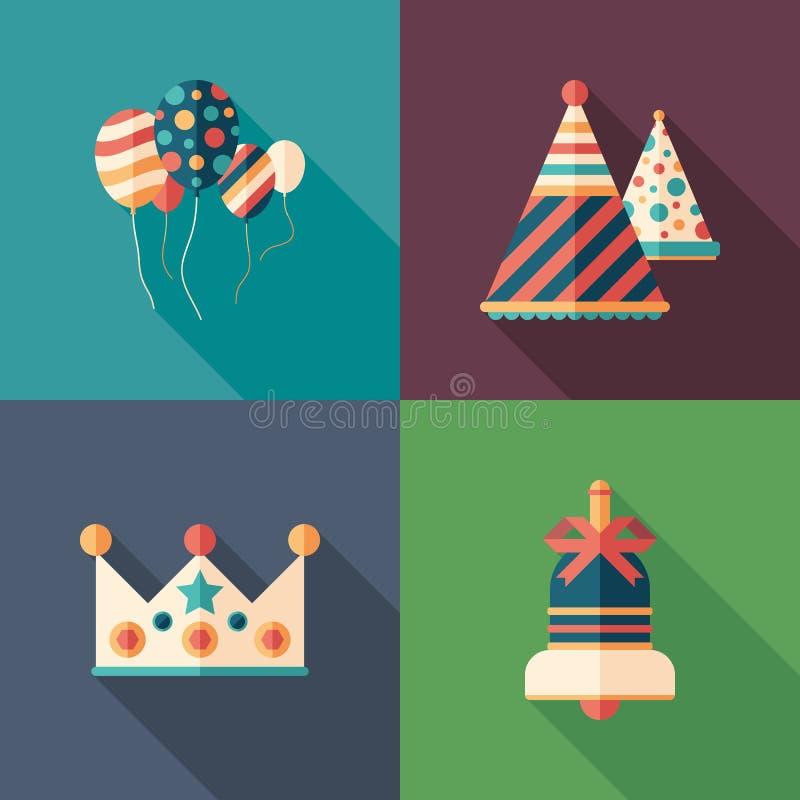 De vlakke vierkante geplaatste pictogrammen van de verjaardagsviering royalty-vrije illustratie