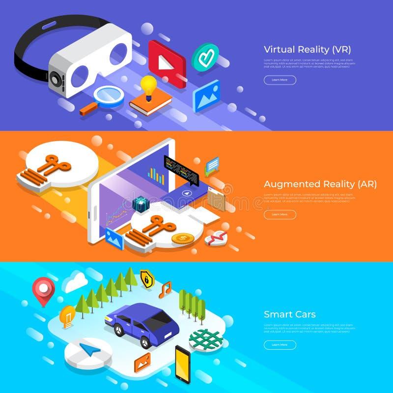 De vlakke virtuele werkelijkheid van het ontwerpconcept, vergrote werkelijkheid en slim royalty-vrije illustratie