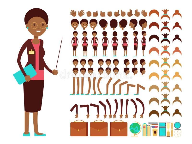 De vlakke vrouwelijke leraar of professors vectoraannemer van de karakterverwezenlijking stock illustratie