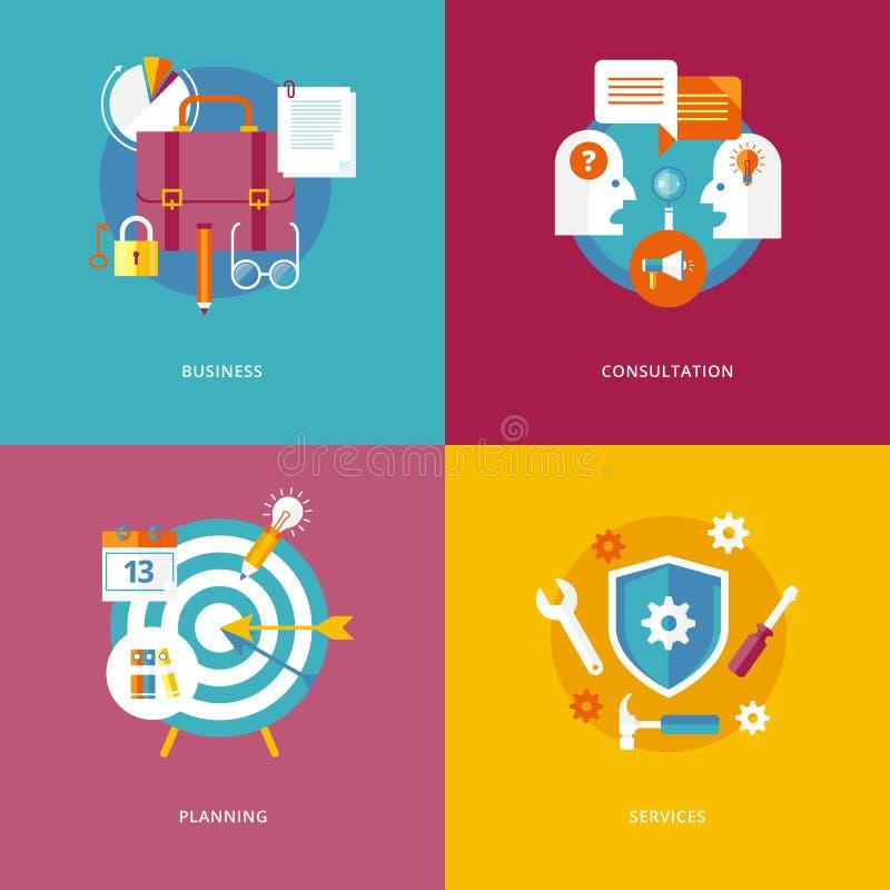 De vlakke zaken van ontwerpconcepten, overleg, planning, de diensten stock illustratie