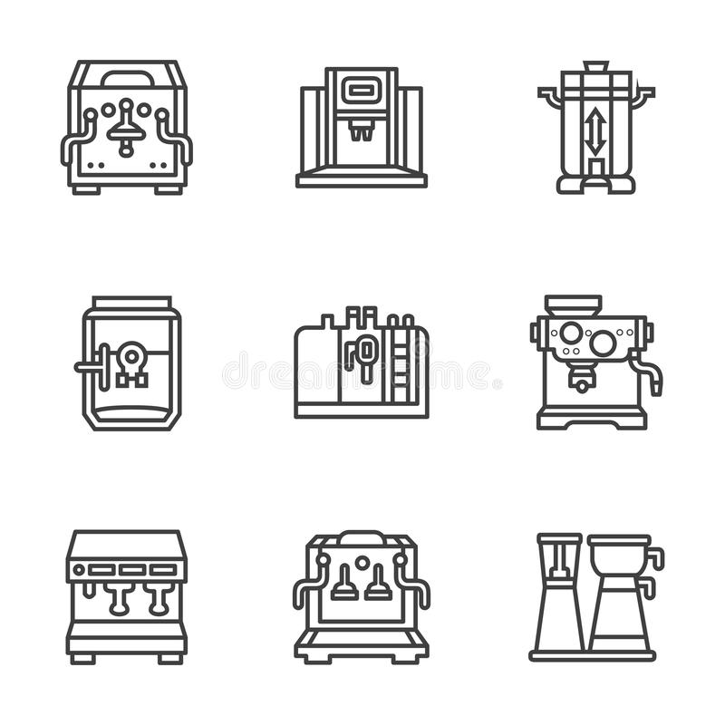 De vlakke zwarte machines van de lijnkoffie royalty-vrije illustratie