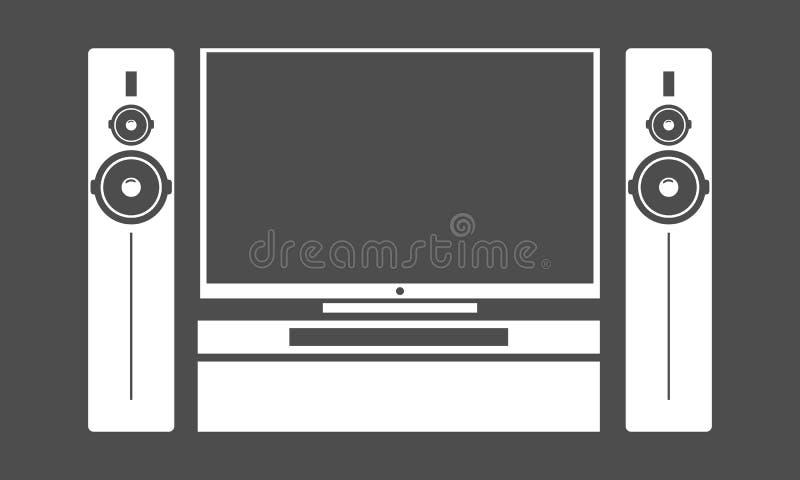 De vlakke zwarte reeks van TV van de huisbioskoop met het stereo audiosysteem van de subwooferspreker Vector illustratie vector illustratie