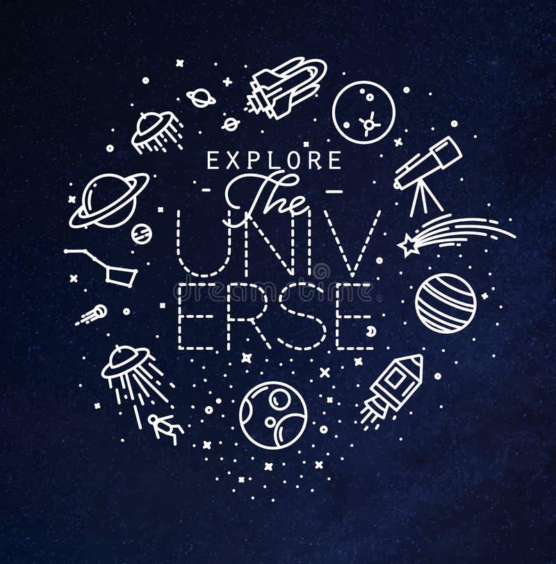 De vlakte onderzoekt het blauw van het heelalmonogram vector illustratie