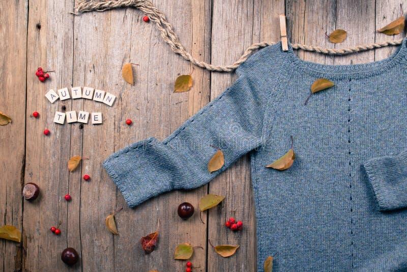De vlakte van de de herfstdaling legt, hoogste mening Warme gebreide sweater, Dalingsbladeren, kastanjes, lijsterbessenbes en pom stock foto