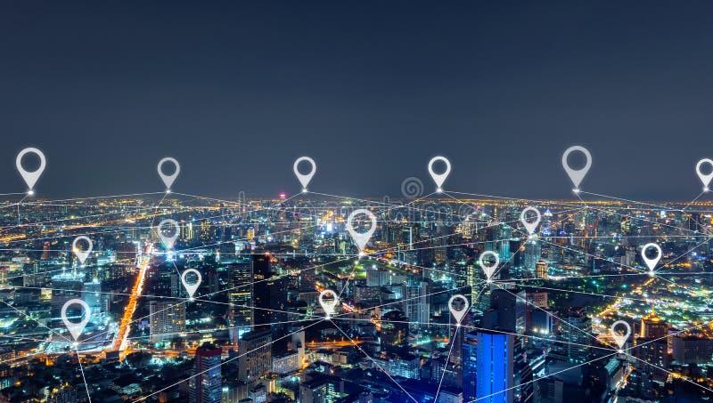 De vlakte van de kaartspeld van stad, de lijnen van de netwerkverbinding in Bangkok de stad in, Thailand Financieel districts en  royalty-vrije stock foto's