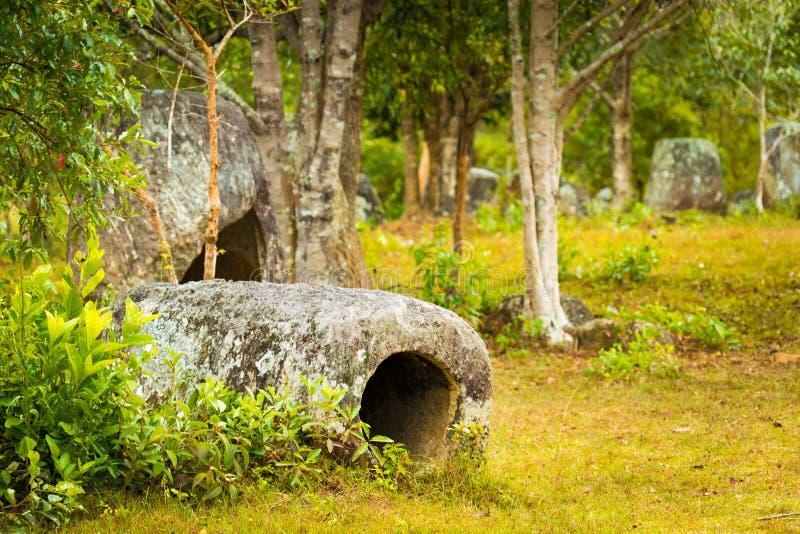 De Vlakte van kruiken laos stock afbeelding