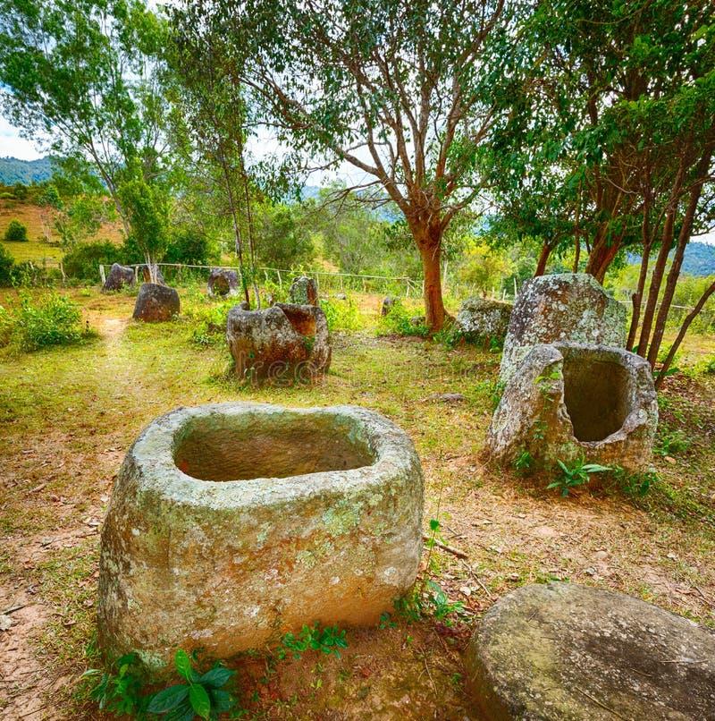 De Vlakte van kruiken laos stock foto