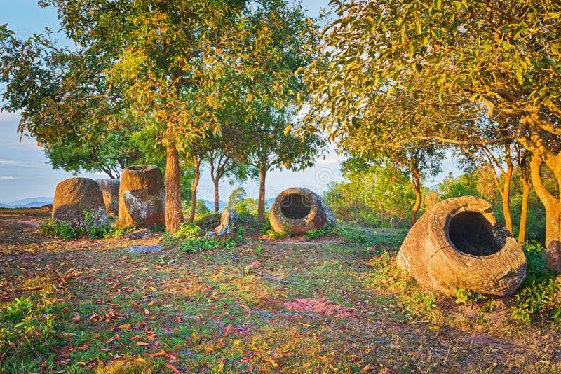 De Vlakte van kruiken laos stock foto's