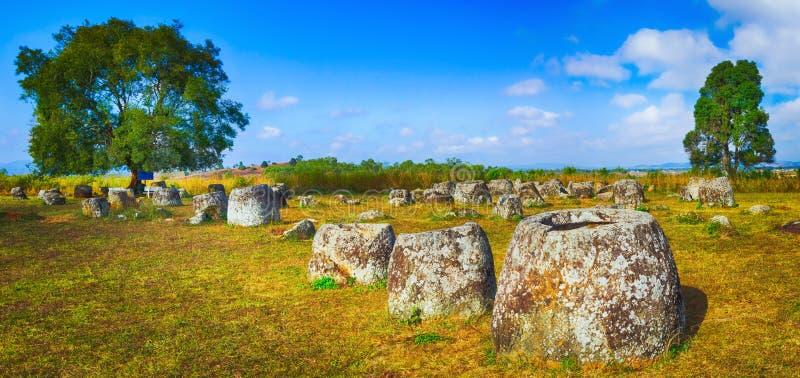 De Vlakte van kruiken laos Panorama stock afbeeldingen