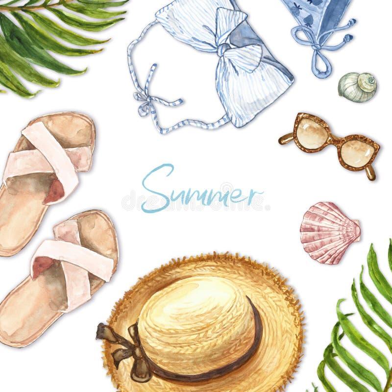 De vlakte van de waterverfzomer legt illustratie op witte achtergrond De hand schilderde swimwear, strohoed, sandals, zonnebril,  royalty-vrije stock foto's