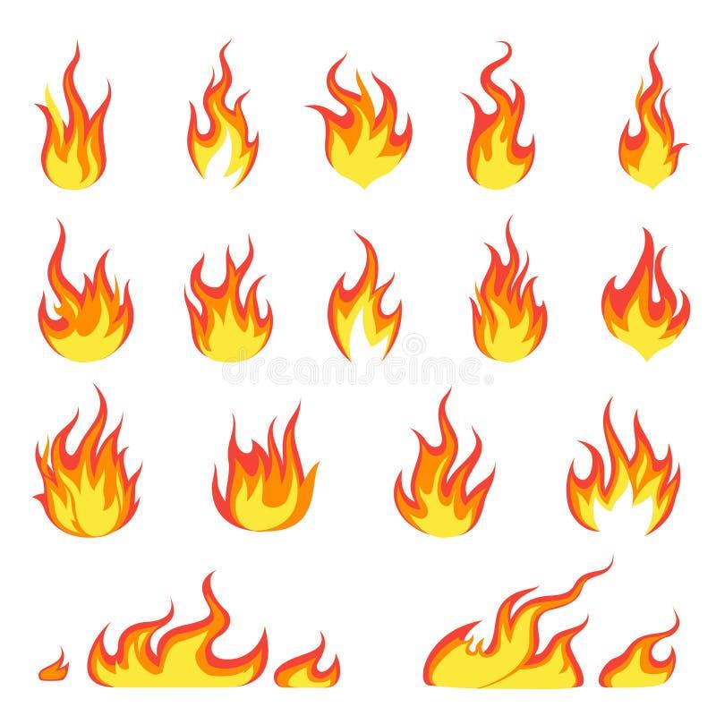 De vlam van de beeldverhaalbrand Brandenbeeld, hete vlammende ontsteking, brandbaar van de explosievlammen van de uitbarstingshit royalty-vrije illustratie