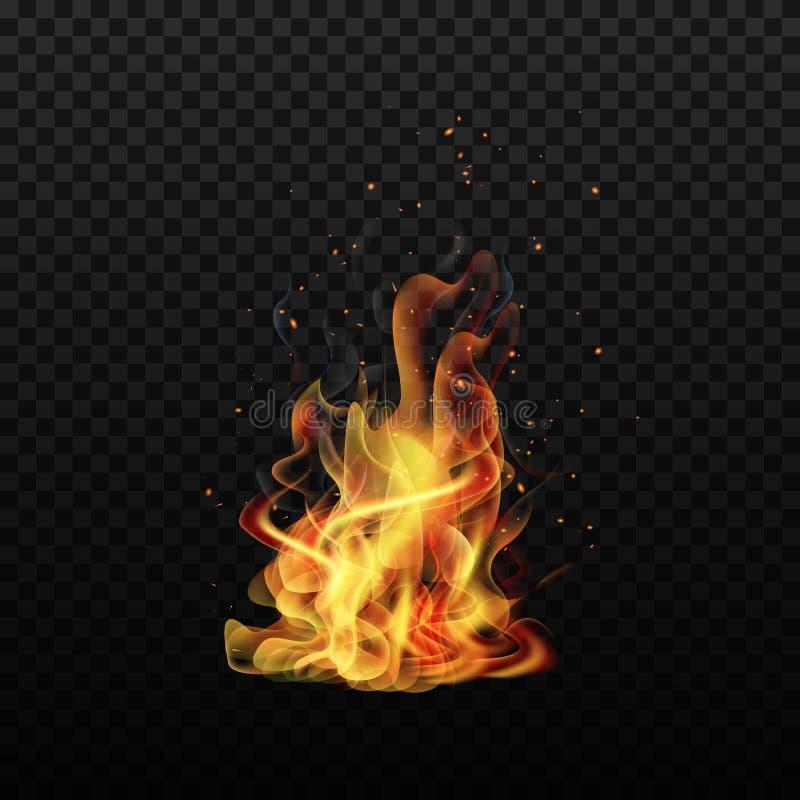 De vlam van de brand Vonkenvlam Ge?soleerde achtergrond Realistische brand Vector illustratie stock illustratie