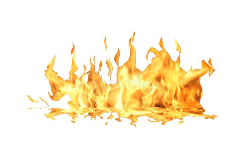 De Vlam van de brand op Wit stock fotografie