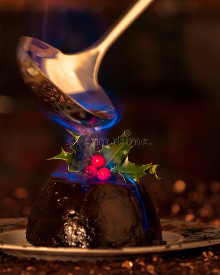 De vlammende Pudding van Kerstmis stock afbeeldingen