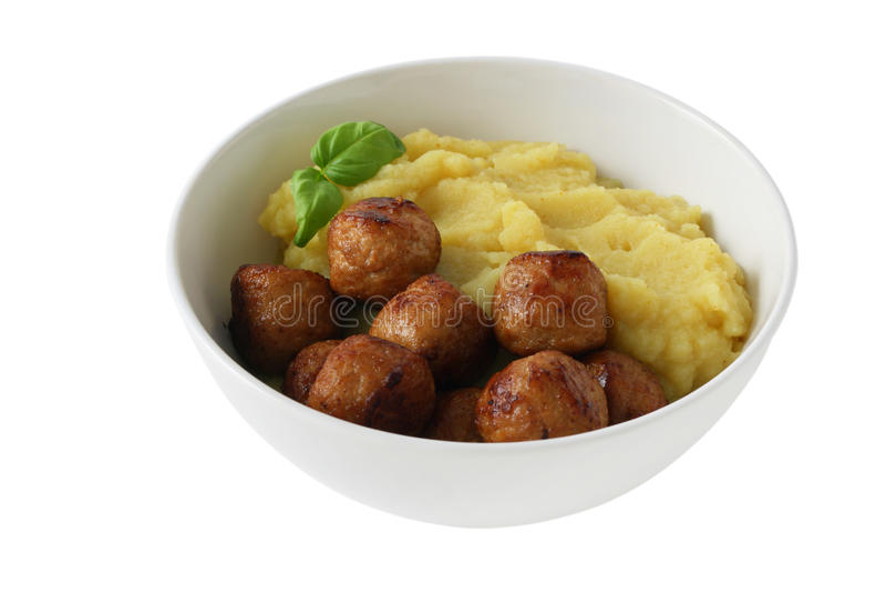 De vleesballetjes van de kip met fijngestampte aardappel royalty-vrije stock foto's