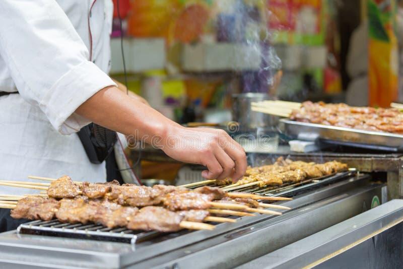 De vleespen van de grillgeit royalty-vrije stock afbeelding