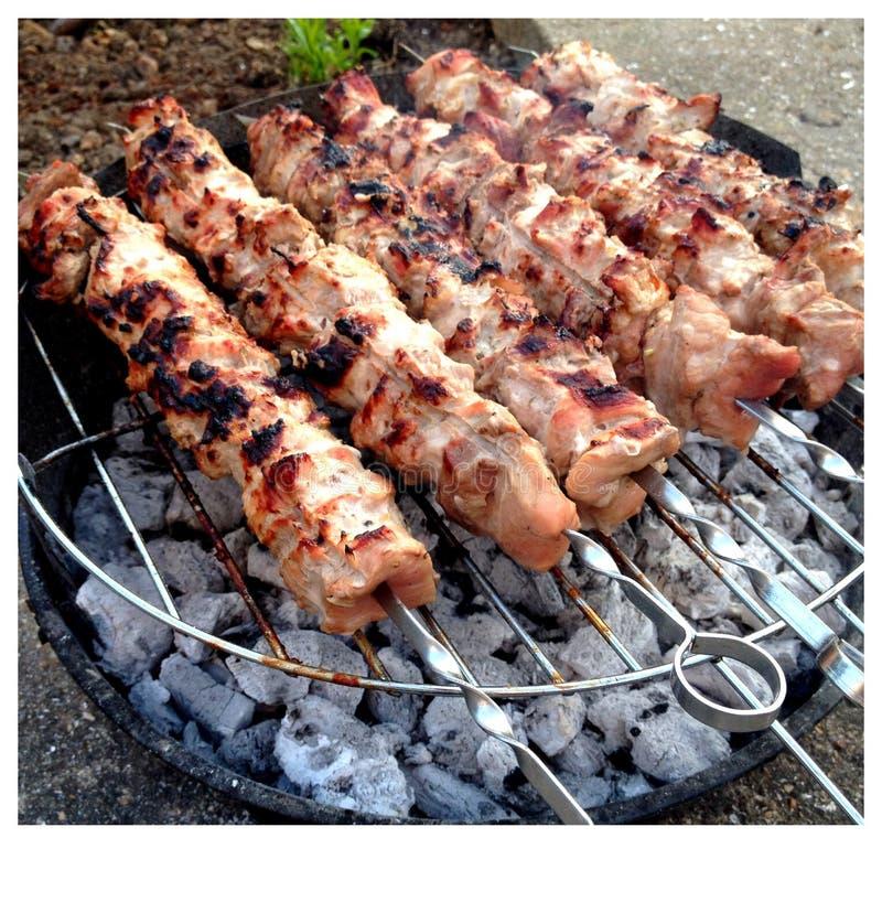 De vleespennen van de kip op een barbecue royalty-vrije stock afbeelding