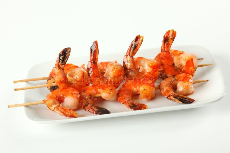 De vleespennen van garnalen met de zoete saus van de knoflookSpaanse peper stock foto's
