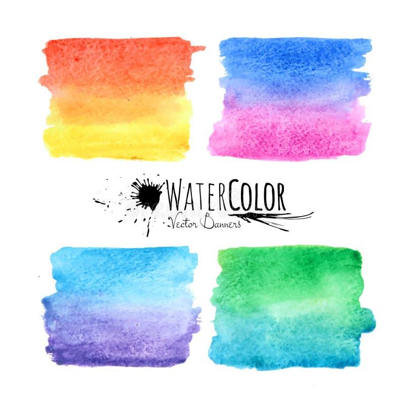 De vlekken kleurrijke reeks van de waterverf geweven verf royalty-vrije illustratie