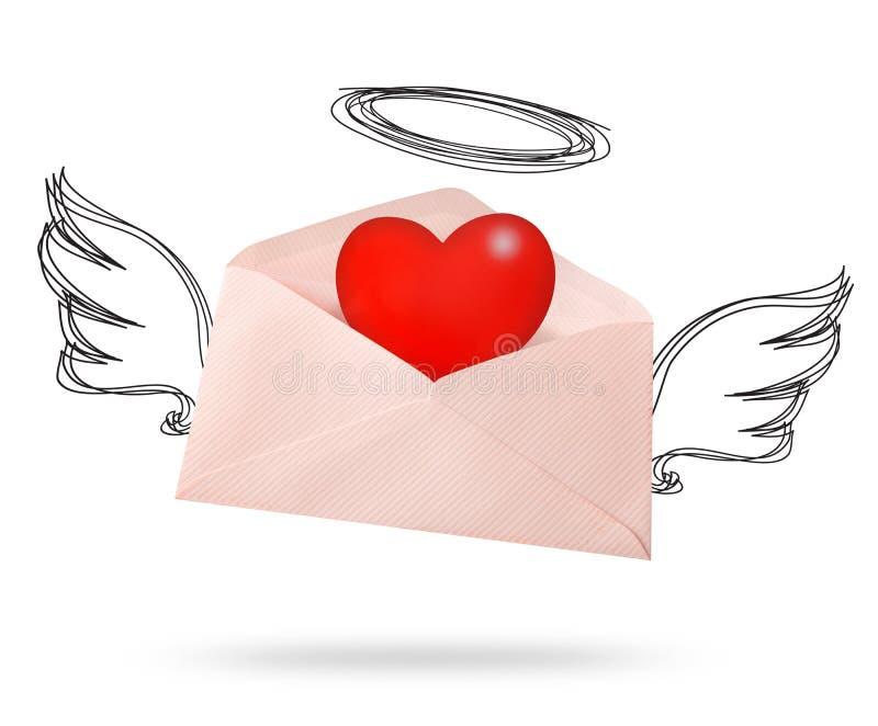 De vleugel van de envelopengel met groot hart stock fotografie