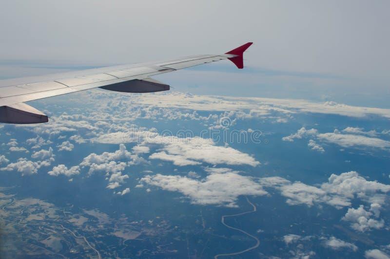 De vleugel van vliegtuig stock foto's