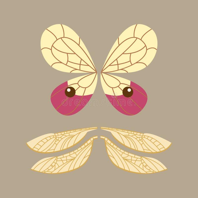 De vleugels isoleerden de dierlijke vlucht van de de vlindervrijheid van de veerpignon en natuurlijke van het de vredesontwerp va royalty-vrije illustratie