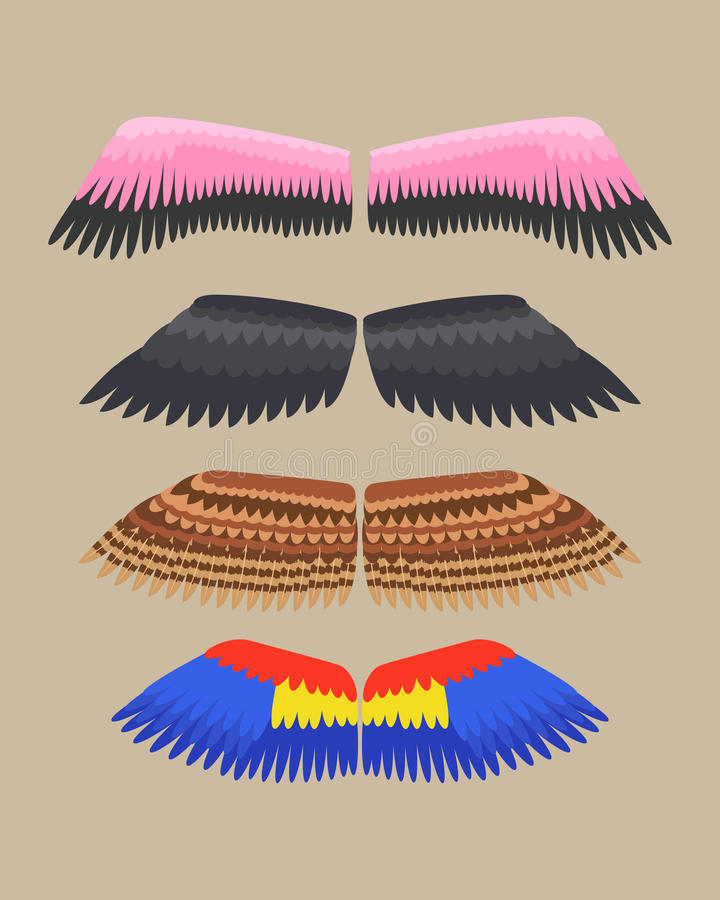 De vleugels isoleerden de dierlijke vlucht van de de vogelvrijheid van de veerpignon en natuurlijke van het de vredesontwerp van  royalty-vrije illustratie