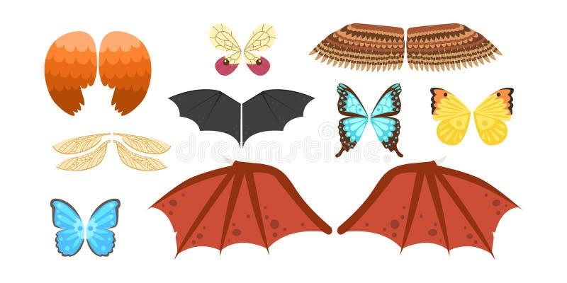 De vleugels isoleerden de dierlijke vlucht van de de vogelvrijheid van de veerpignon en natuurlijke van het de vredesontwerp van  stock illustratie