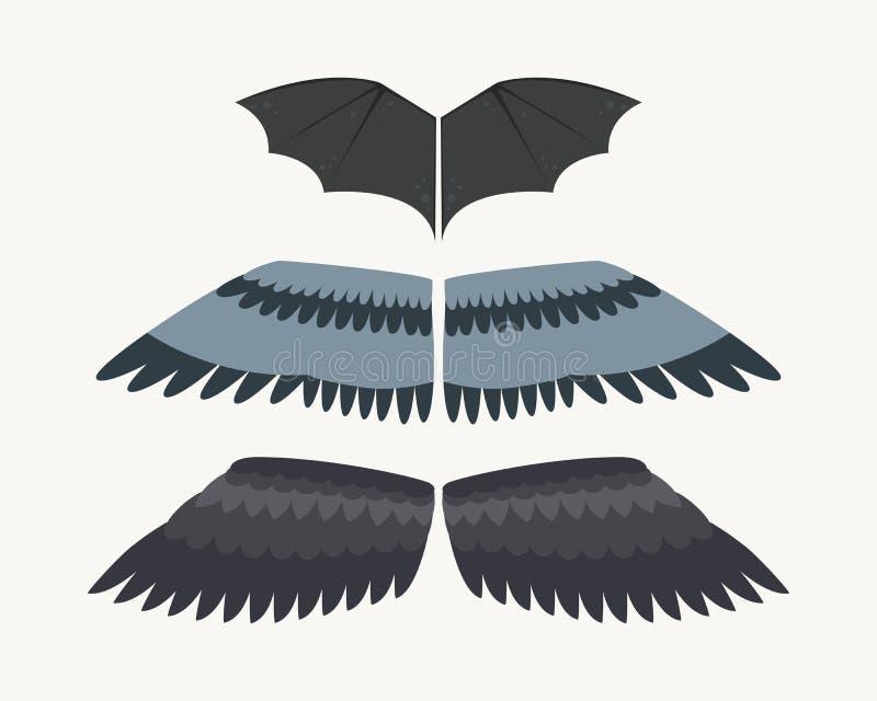 De vleugels isoleerden de dierlijke vlucht van de de vogelvrijheid van de veerpignon en natuurlijke van het de vredesontwerp van  vector illustratie