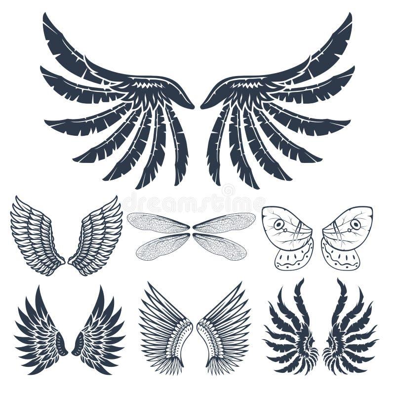 De vleugels isoleerden dierlijke van de de vogelvrijheid van de veerpignon van de de vlucht natuurlijke vrede het ontwerp vectori stock illustratie