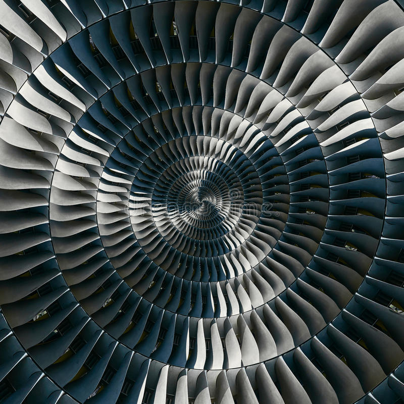 De vleugels spiraalvormige effect van turbinebladen abstracte fractal patroonachtergrond De spiraalvormige achtergrond van de ind stock afbeeldingen