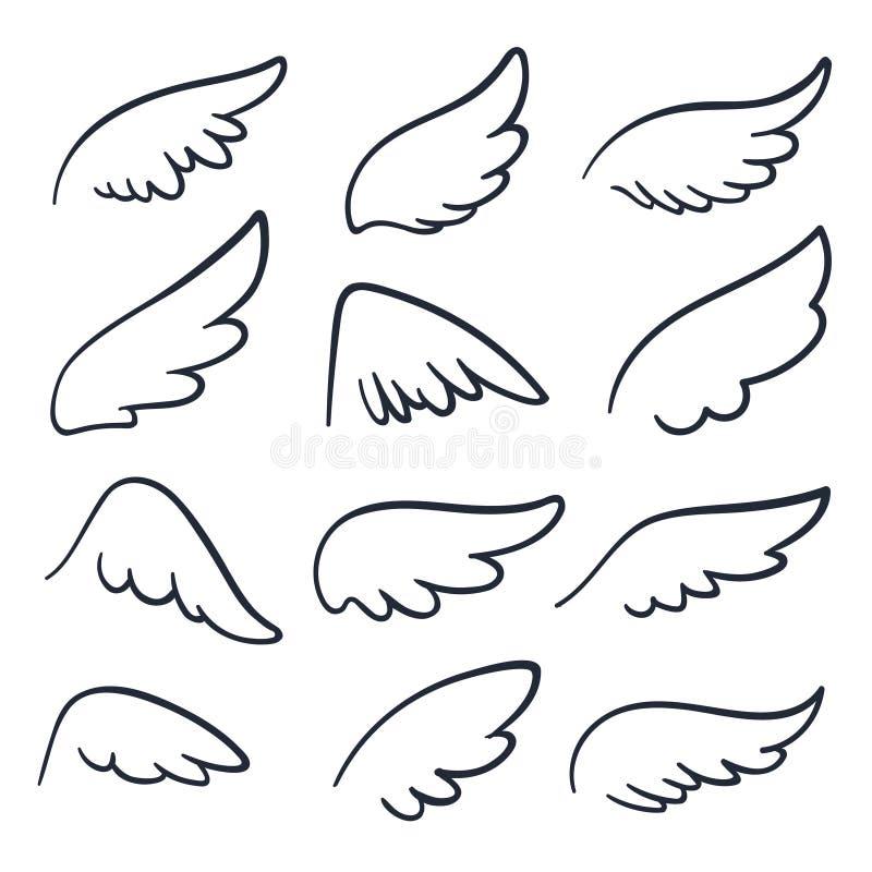 De vleugels van de beeldverhaalengel De gevleugelde pictogrammen van de krabbelschets Engelen en vogel geïsoleerde vectorsymbolen vector illustratie