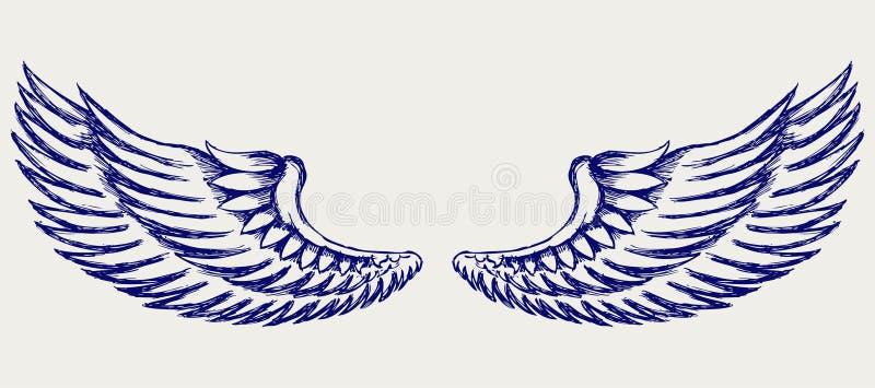 De vleugels van de engel. De stijl van de krabbel royalty-vrije illustratie