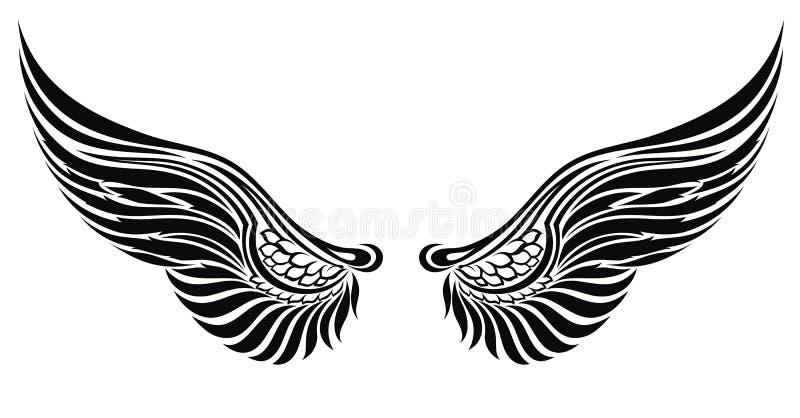 De vleugels van de engel die op wit worden geïsoleerdn. Het ontwerp van de tatoegering stock illustratie