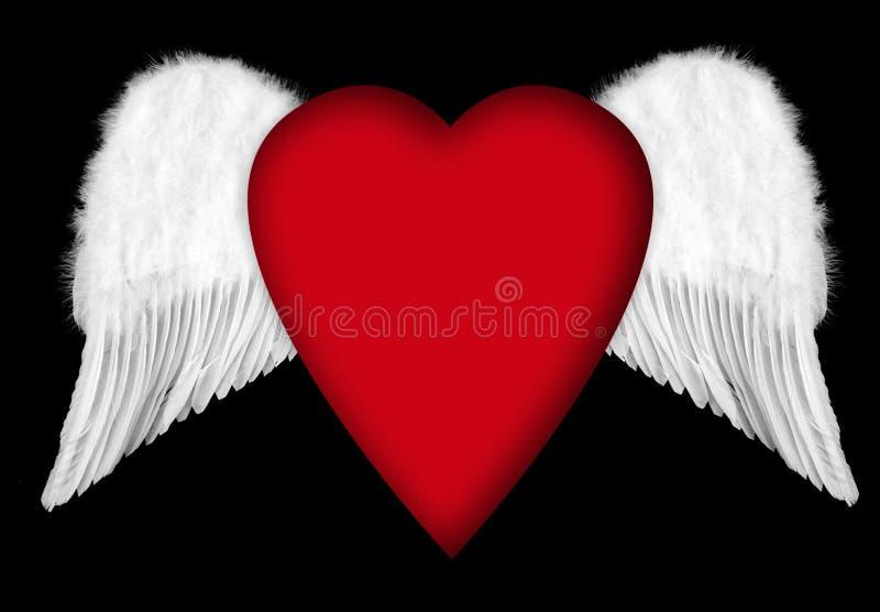 De Vleugels van de engel met het Hart van de Valentijnskaart stock illustratie