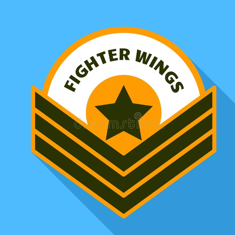 De vleugelsembleem van de luchtvechter, vlakke stijl stock illustratie