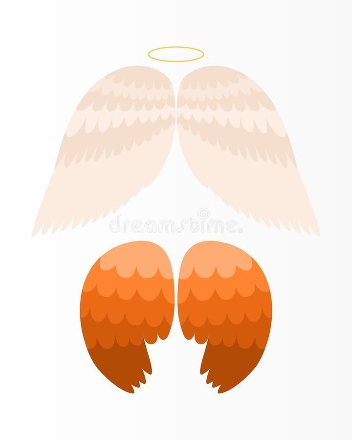 De vleugelsengel isoleerde de dierlijke vlucht van de de vogelvrijheid van de veerpignon en natuurlijke van het de vredesontwerp  royalty-vrije illustratie