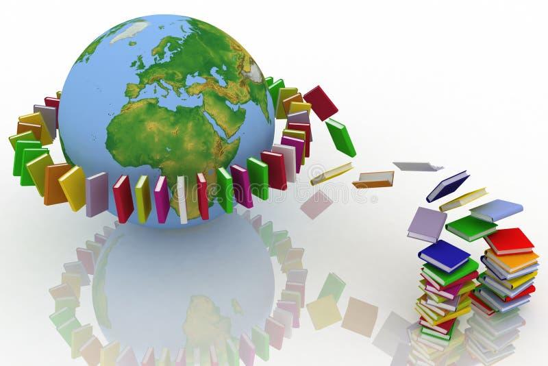 De vlieg van boeken in riem stock illustratie