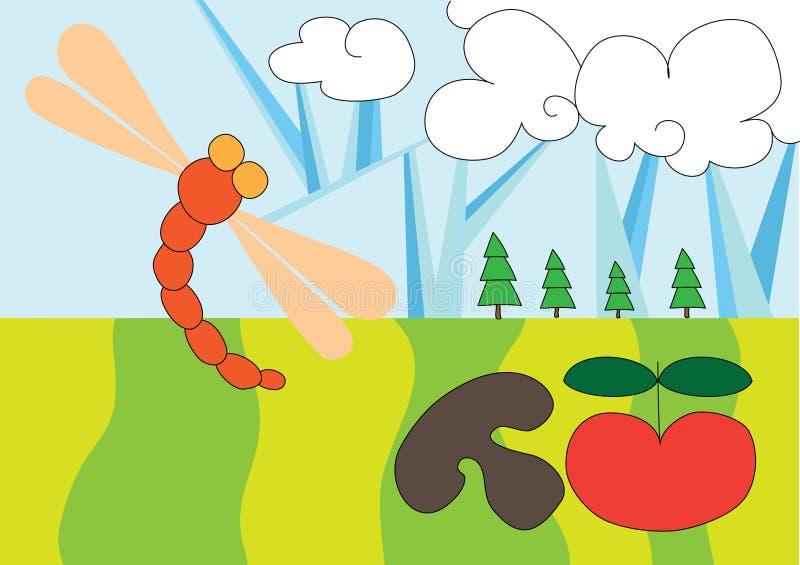 Download De Vlieg Van De Draak In De Hemel Stock Illustratie - Illustratie bestaande uit achtergrond, pret: 10779923