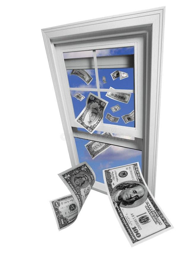 De vlieg van dollars weg door venster skyward royalty-vrije stock fotografie