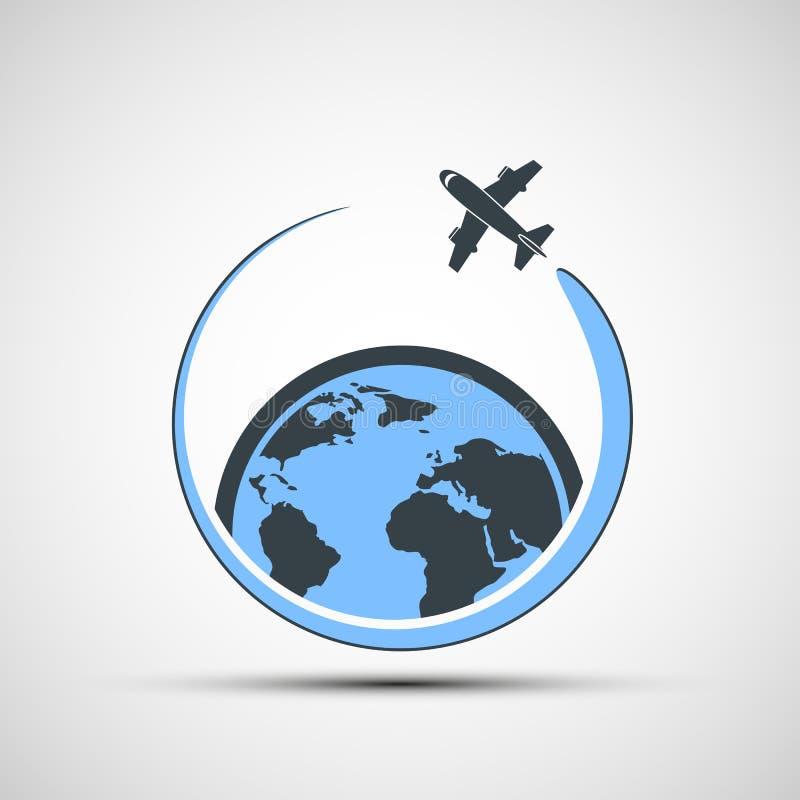 De vlieg van het embleemvliegtuig rond de aarde stock illustratie