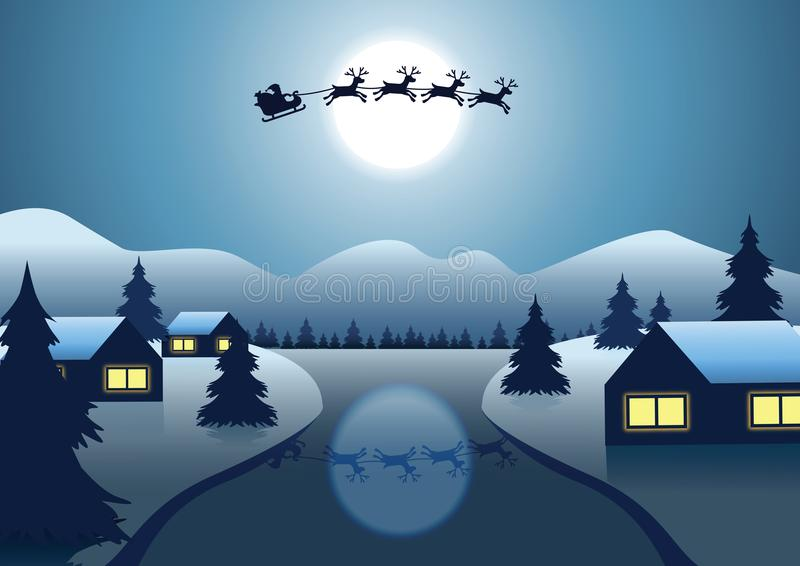 De vlieg van Santa Claus en van het rendier over het dorp dichtbij rivier rond vector illustratie