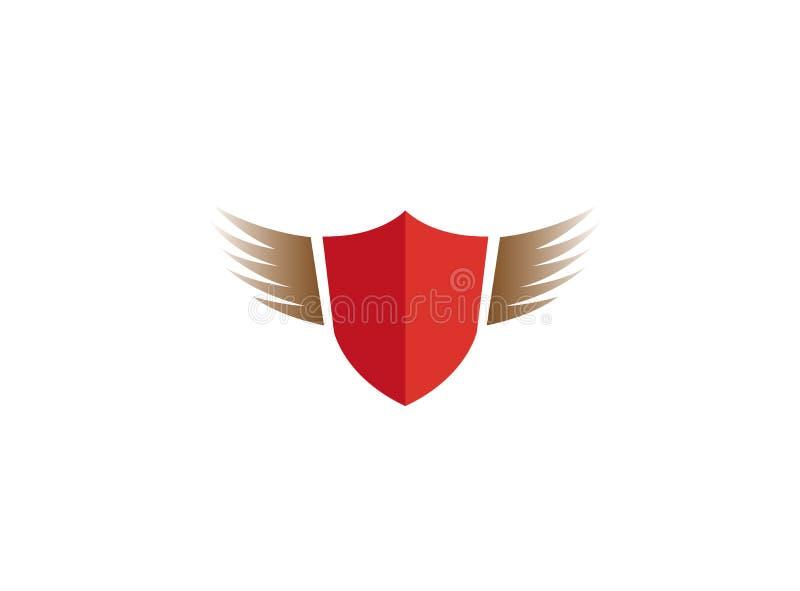 De vlieg van de schildbescherming met het ontwerp van het Vleugelsembleem royalty-vrije illustratie