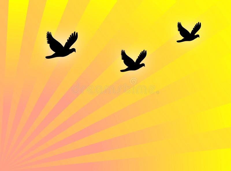 De vlieg van vogels stock illustratie